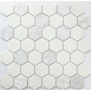 Rock Art stone, Carrara Hexagon  Mosaic by Roca Tile