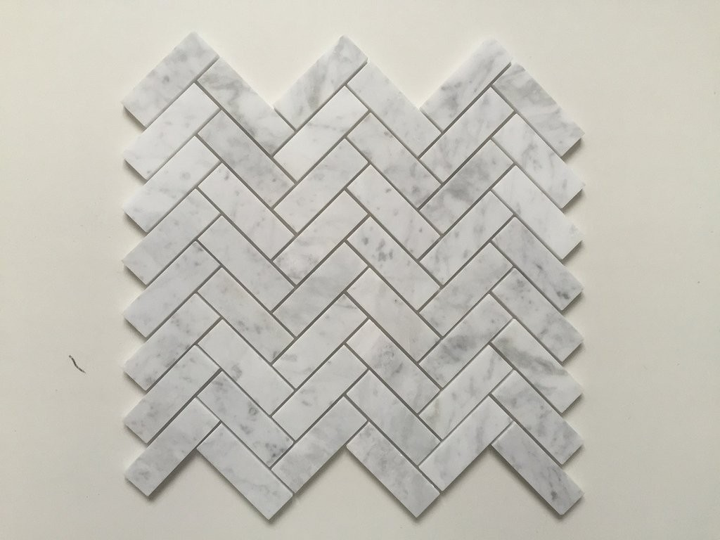 White Carrara Herringbone