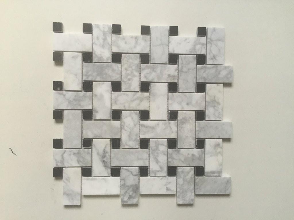White Carrara Basket Weave w/ Black