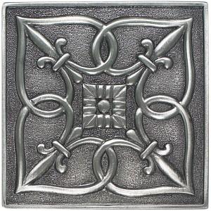 Massalia, Pewter 4 x 4 Fleur de Lis Accent ceramic tile