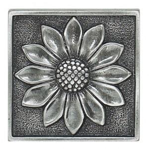 Massalia, Pewter 2 x 2 Floral Accent ceramic tile