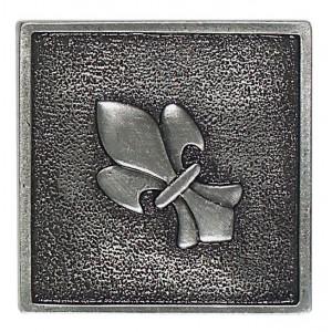Massalia, Pewter 2 x 2 Fleur de Lis Accent ceramic tile