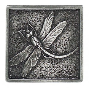 Massalia, Pewter 2 x 2 Dragon Fly Accent ceramic tile
