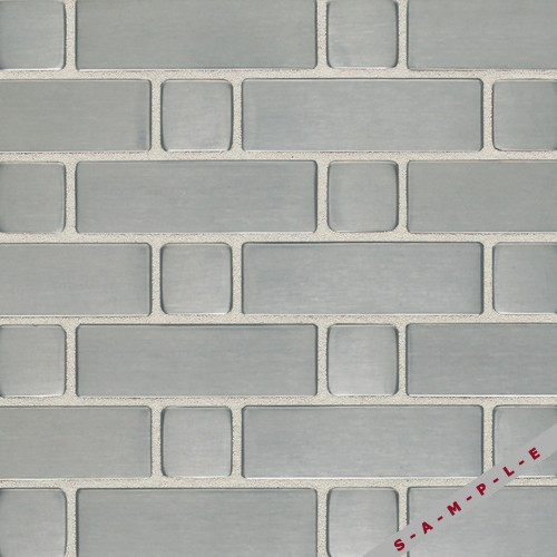 Brushed Stainless Steel Large Basketweave Mosaic