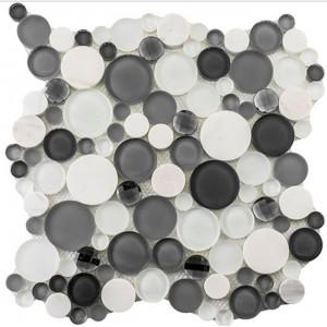 Symphony Bubble Series, Grey Fizz glass tile