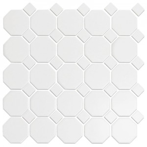 CC Mosaics tile, Snow White Octagonal Mosaic by Roca Tile