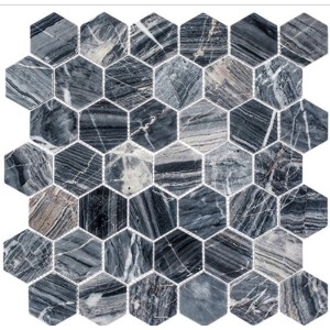 Colonial Series, Salem Charcoal hex glass tile