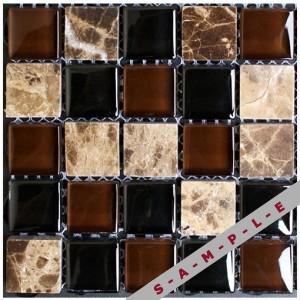 Glass and stone glass tile